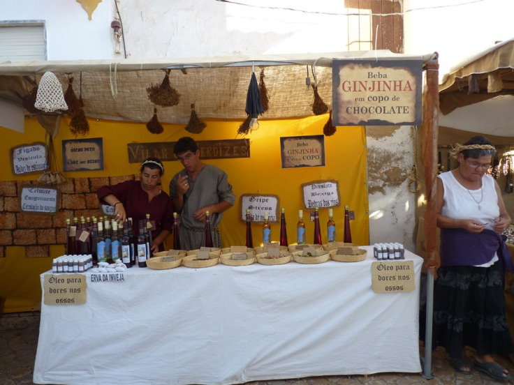 Silves Medieval Fair - Stall selling Ginja - a popular Portuguese liquer