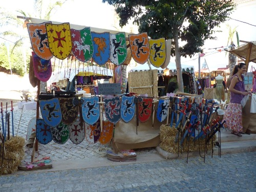 Silves Medieval Fair - stall selling shields