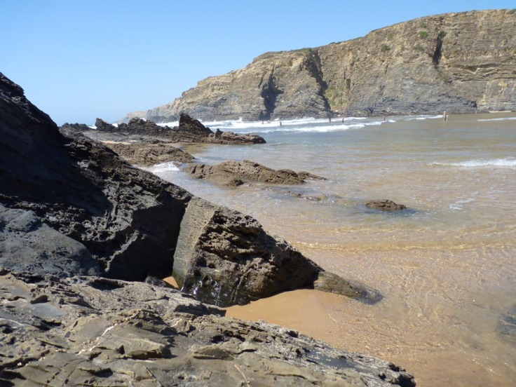 Praia do Carvalhal - the beach is flanked by cliffs and countryside