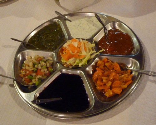 A tray of Indian pickles