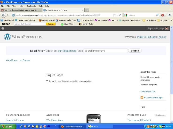 Screenshot of WordPress forum