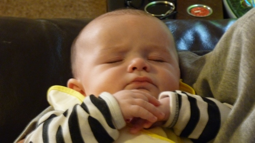 My baby grandson sleeps peacefully