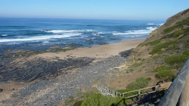 Clifftop view down to Praia do Vale dos Homens