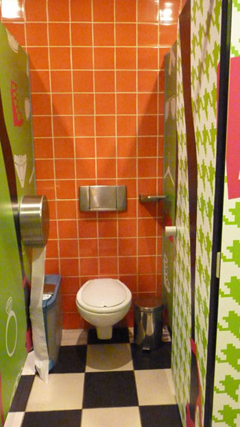 Colourful toilet in Algarve Shopping - Guia, Portugal