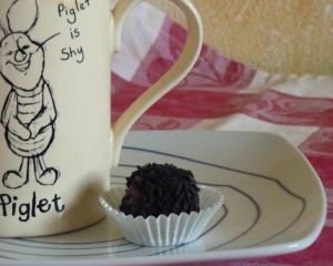 A Brigadeiro is the perfect treat to serve with a cup of coffee
