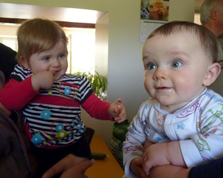 Little Piglet meets her UK cousin for the first time