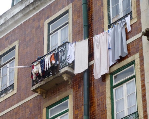 Drying washing in a city apartment