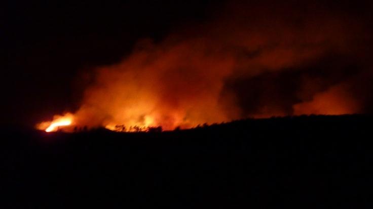 Fire still blazing at nearly midnight