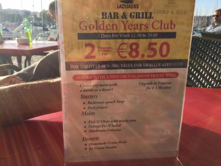 Golden Years Menu - Lazy Jacks - Lagos Marina.