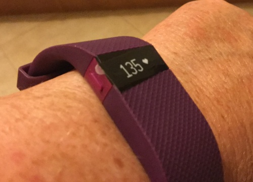 The FitBit arrived pulse set at 135