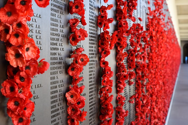 The poppy represents the sacrifice and lasting memorial to those who died in the First World War and later conflicts