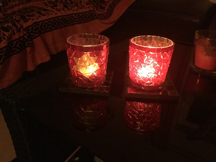 Glass mosaic candle holders