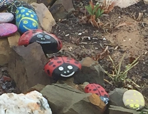 Ladybirds created from pebbles