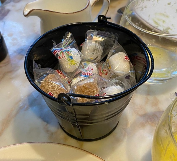 Single use plastic - plastic wrapped sugar cubes