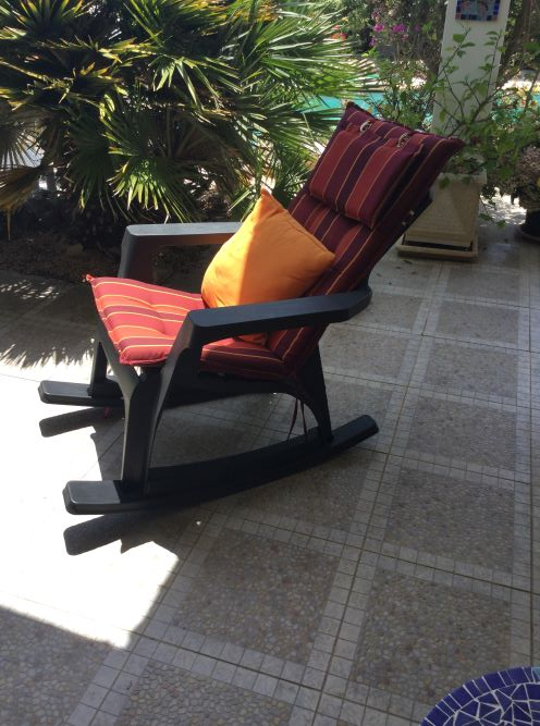 All weather plastic garden rocking chair