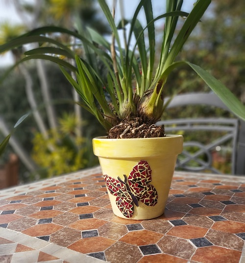 Mosaic butterfly pot